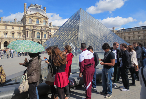 Outside the Louvre Museum in Paris