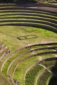 Ancient Inca terraces at Moray near Urubamba in Peru