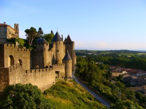 The castle of Carcassonne at dusk