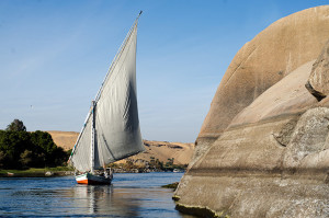 Felucca Sail Boat on the Nile River in Aswan, Egypt