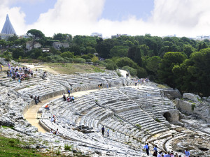 Roman Ampitheatre in Neopolis Zone of Syracuse, in Sicily