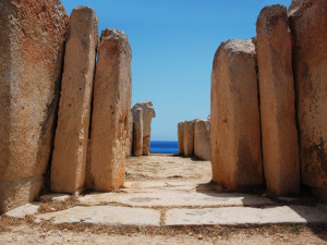 Ancient Mediterranean architecture in Mnajdra Temples in Malta
