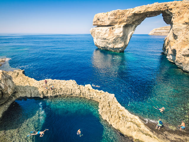 The World Famous Azure Window in Gozo Island in Malta