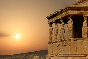 Caryatids on the Athenian Acropolis at sunset (Greece)