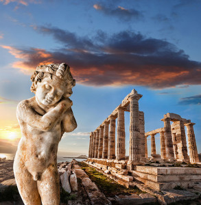 Greek Temple of Poseidon in Cape Sounion in Athens, Greece