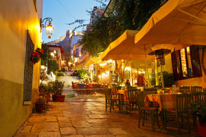 Streets of Plaka in Athens, Greece at dusk - Sacred Tour of Greece