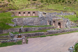 Ruins of Inca ceremonial stone bath at Tambomachay near Cuzco, Peru