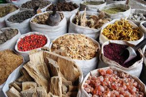 Spices in market stall in La Paz, Bolivia