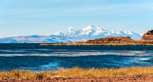 Lake Titicaca with sacred mountains