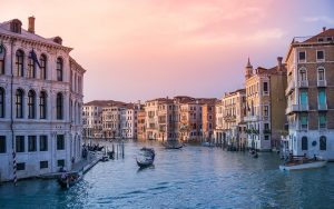 Scenic view of Venice, Italy at sunset - See romantic Venice on a guided Sacred Tour of Italy