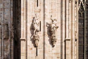 Statues at Duomo di Milano in Milan, Italy