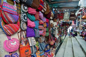 Souvenir Market in Aguas Calientes, Peru - Sacred Tour of Peru with Karen Lovelien and Fred Boshardt