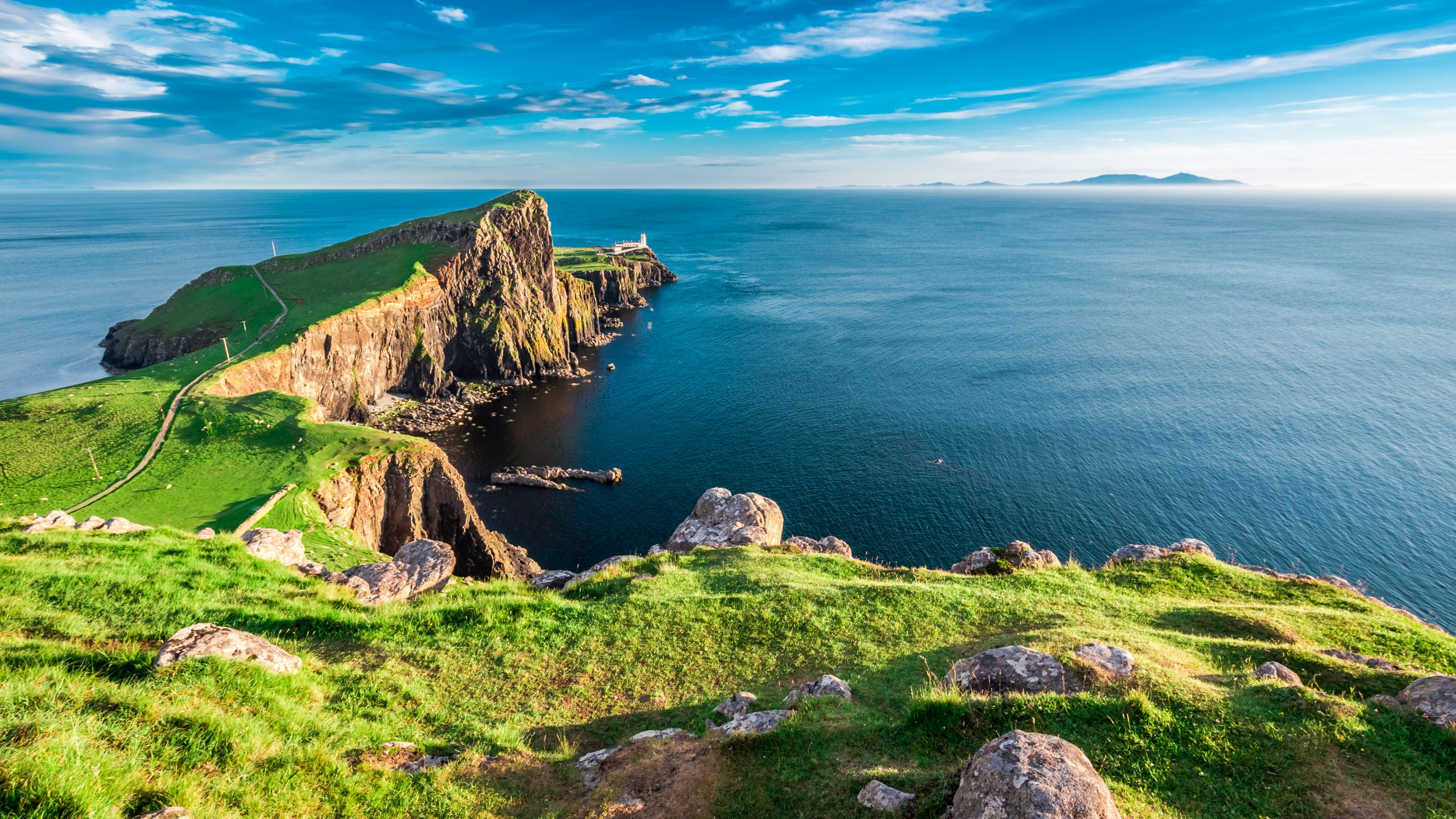 Sunny day at the Neist point lighthouse in Isle of Skye, Scotland
