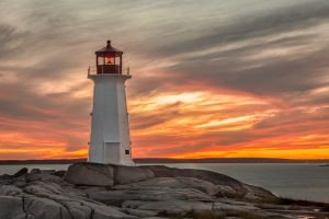 Sunset at the Lighthouse at Peggy's Cove near Halifax Nova Scotia, Canada | Sacred Mystical Journeys