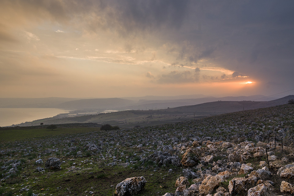 Sunrise over landscape of Galilee - Sea of Galilee in Israel | Sacred tour of Israel