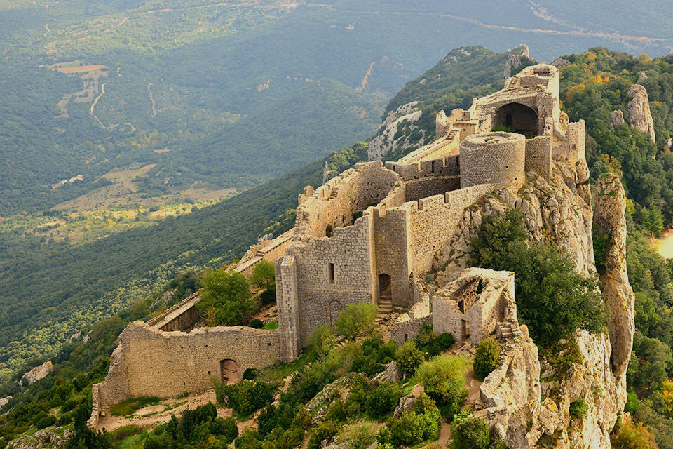 Cathar Castle Peyrepertuse in the French Pyrenees - The Mystery of the Cathars
