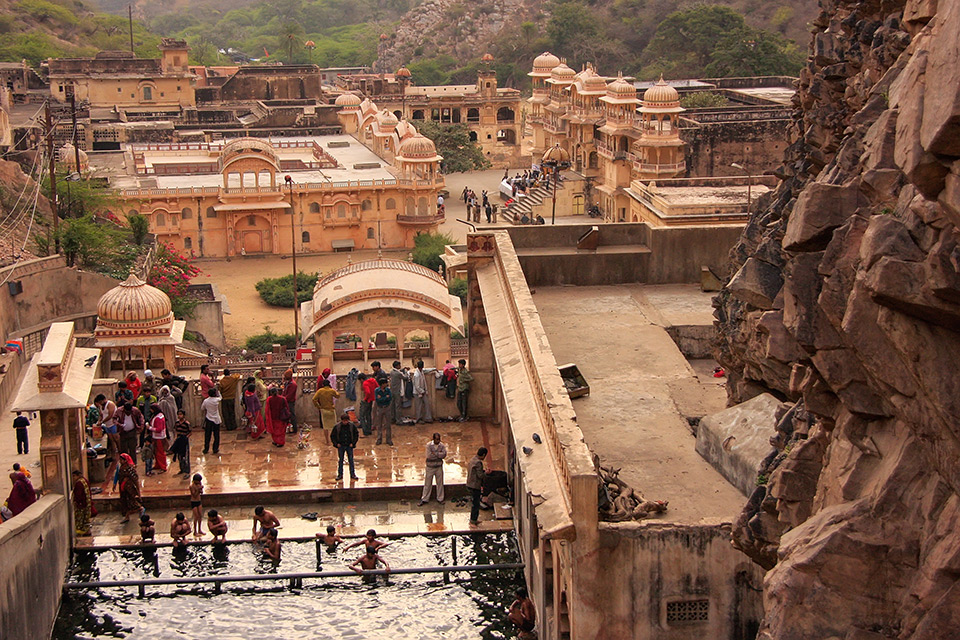 Galtaji Temple near Jaipur in Rajasthan, India