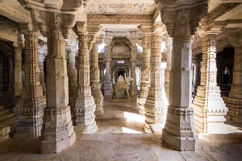 Interior view showing intricate carvings of a Jain temple in Ranakpur, India