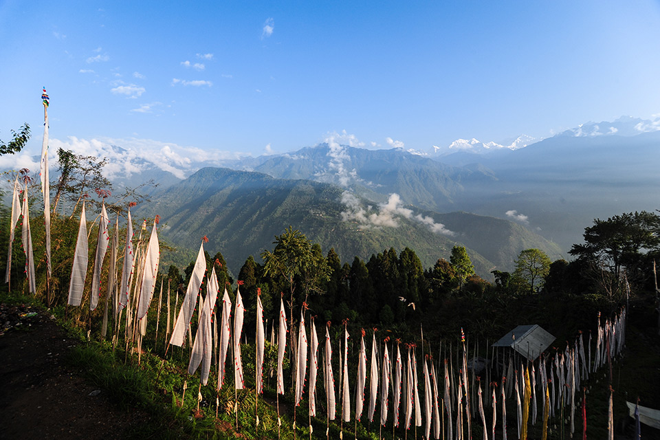 View of Mount Kanchenjunga from local house in India