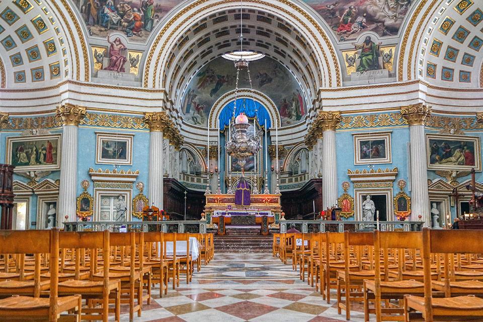 Interior of the Mosta Dome in Mdina, Malta