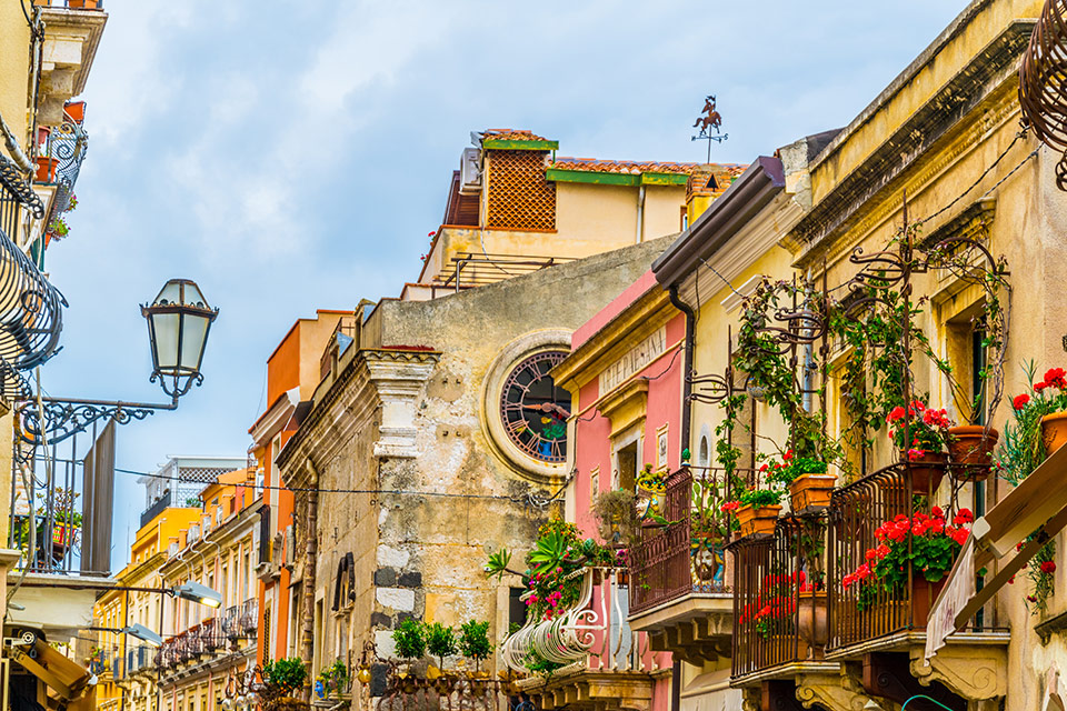 View of a narow street in Taormina, Sicily